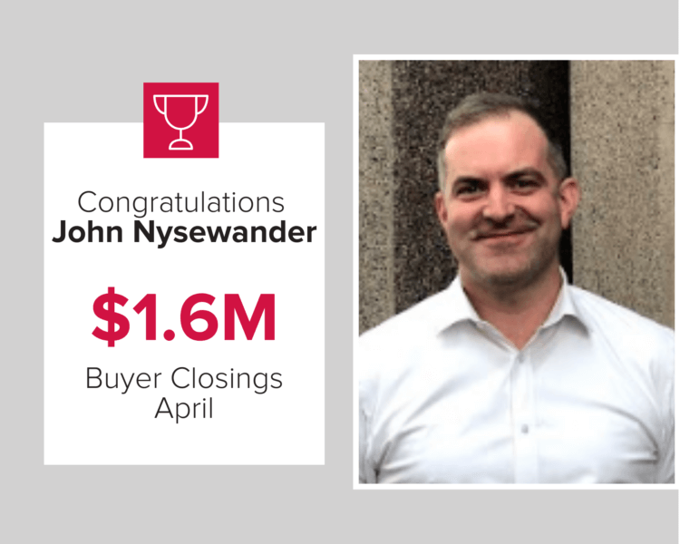 John Nysewander was in the top three buyer agents in April 2020.