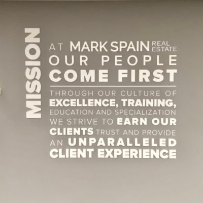 This is the Mark Spain Real Estate Stockbridge Office's mission wall.