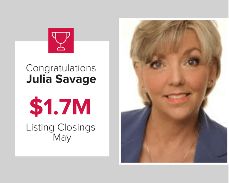 Julia Savage had over $1.7 million in closings during May 2020