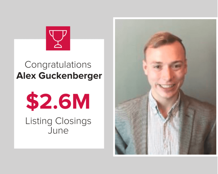 Alex closed $2.6 million in homes during June 2020