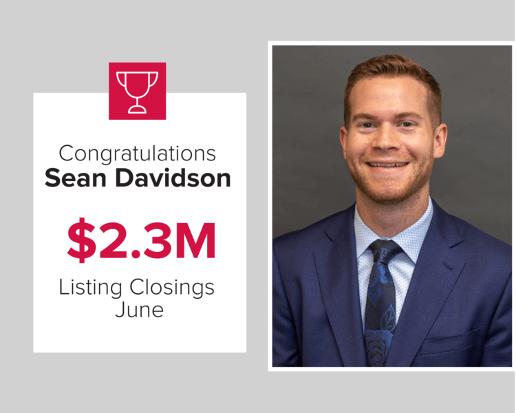 Sean Davidson closed $2.3 million worth of homes in June 2020