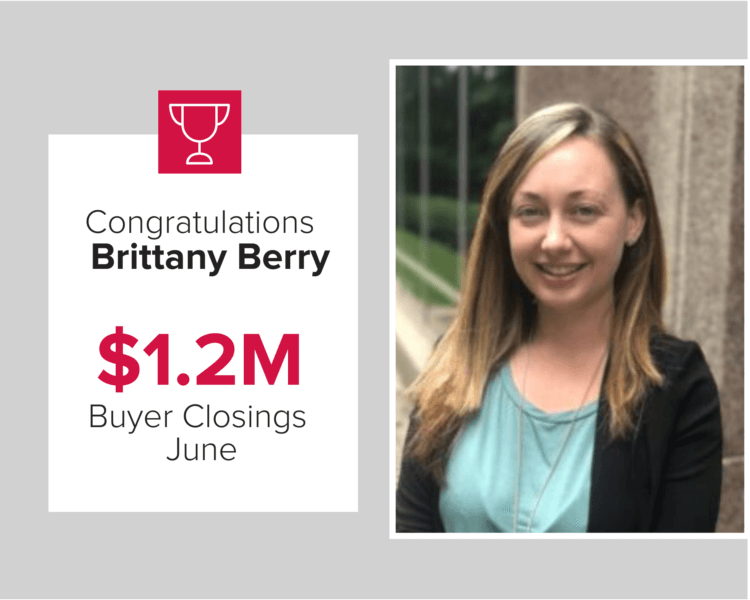 Brittany Berry had $1.2 million in buyer closings in June 2020