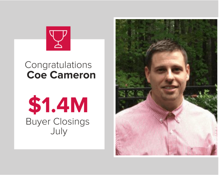 Coe Cameron had $1.4 million in buyer closings in July