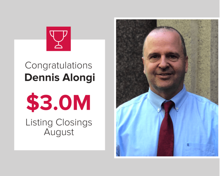 Dennis was the top agent for August 2020 for Listing Closings