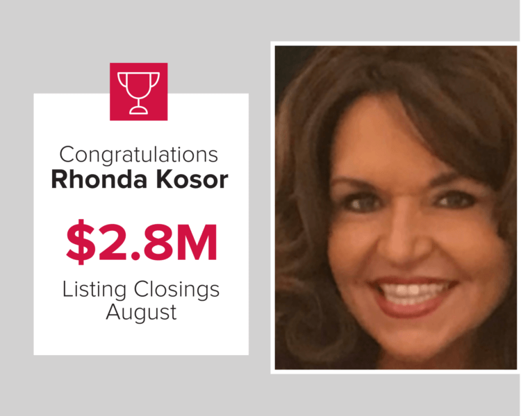 Rhonda is highlighted as the number 2 agent for Listing CLosings
