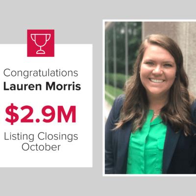 Lauren is a top agent for closings October 2020