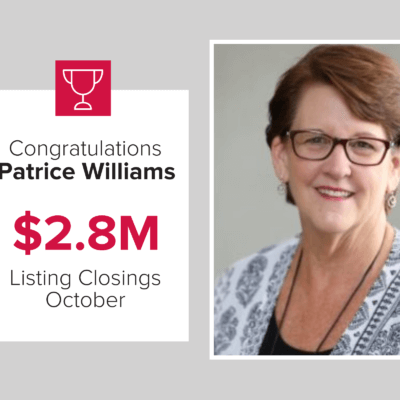 Patrice is a top agent for closings for October 2020