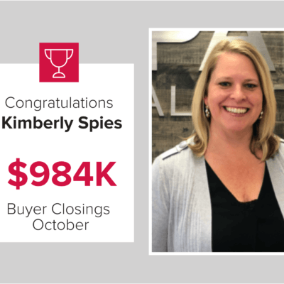 Kimberley is a top agent for buyer closings in October 2020
