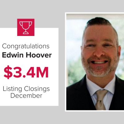 Edwin was a top listing agent last month.