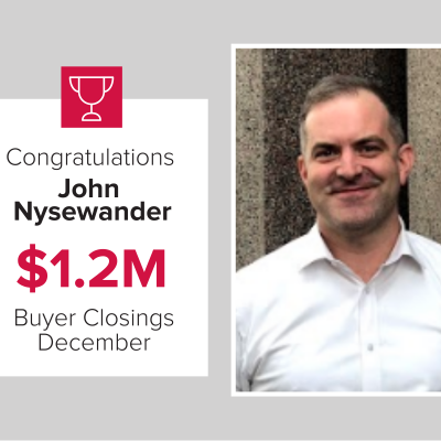 John was our number 3 buyers agent in December 2020