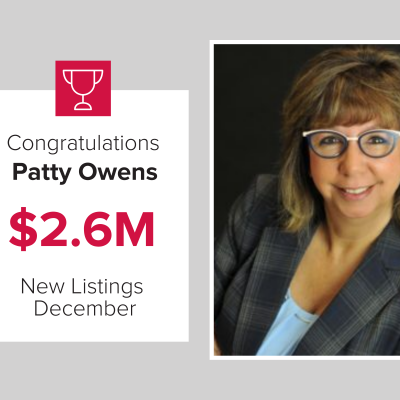 Patty was our number 2 agent for New listings in December 2020
