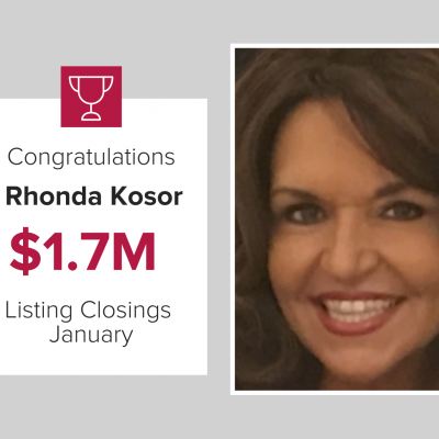 Rhonda was our number 3 agent in January 2021 for Listing Closings.