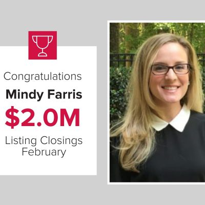 Mindy was the number 2 agent for listing closings in February 2021