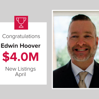 Edwin was the top agent for new listings in April 2021.