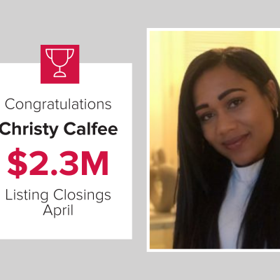 Christy was the number 3 agent last month for the most listing closings