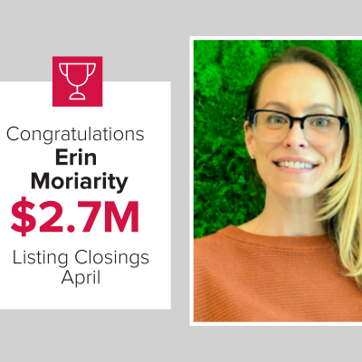 Erin was the number 2 agent for listing closings last month.
