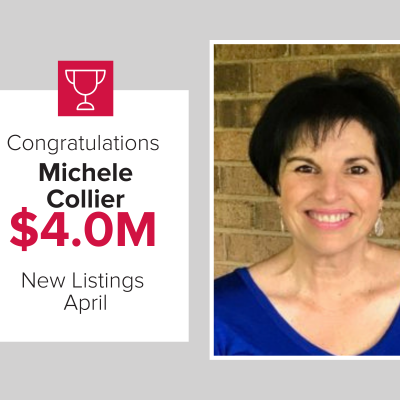 Michele Collier was a top agent for listing the most homes in April 2021.