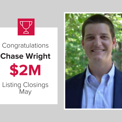 Chase Wright had over $2M in Listing Closings in May 2021!