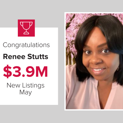 Renee Stutts had new listings worth over $3.9M in May.