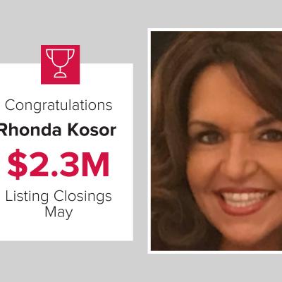 Rhonda Kosor had over $2.3M in Listing Closings in May 2021!